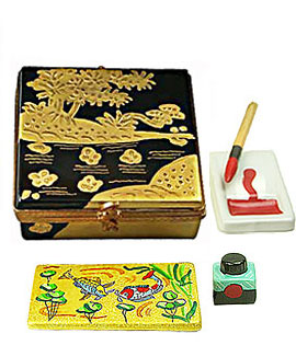 asian painting set limoges box