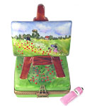 Limoges box easel - Monet's poppy field and paint tube