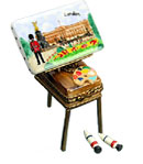 Limoges box easel with buckingham palace painting