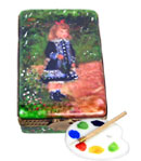 Limoges box Renoir Girl with watering can and removable porcelain palette