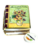Impressionist art book Limoges box sunflowers in vase and porcelain palette