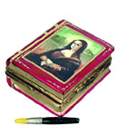 Limoges box art book with Mona Lisa on cover and paint brush inside