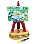 Monet water lily bridge imoges box easel with paint brush