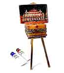 Paris Opera House painting on easel Limoges box with paint tubes
