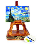 Limoges box Starry Night easel with Palette
