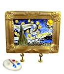 Limoges box Van Gogh Starry Night in frame with palette