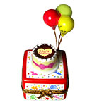 birthday cake with balloons limoges box