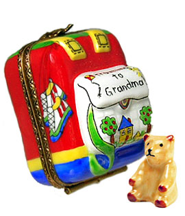 Childs Traveling to Grandma's backpack with teddy Limoges box