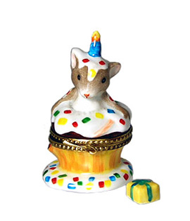 Limoges box birthday surprise- mouse in cupcake