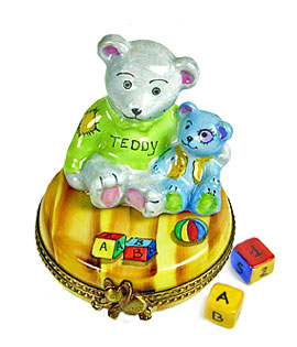 Limoges box Teddy buddies with blocks