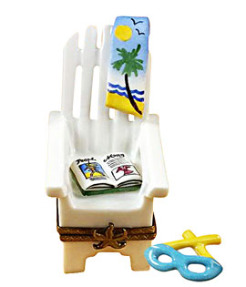 Limoges box high back adiorndack beach chair with magazine and glasses