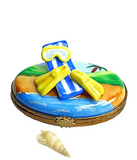 Limoges box beach snorkel scene with flippers