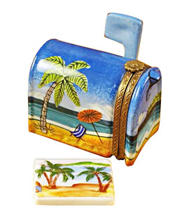 Limoges box beach mailbox with postcard