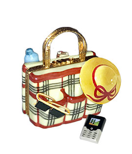 Limoges box burberry plaid beach bag