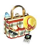 burberry plaid limoges box beach bag with hat, items and mobile phone
