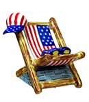 stars and stripes beach chair Limoges box