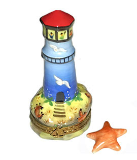 Limoges box lighthouse with shells decor and starfish