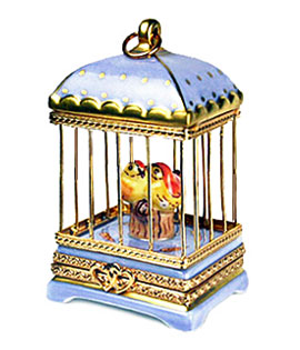 blue birdcage with lovebirds Limoges box