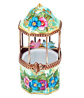 Floral birdcage Limoges box with love birds