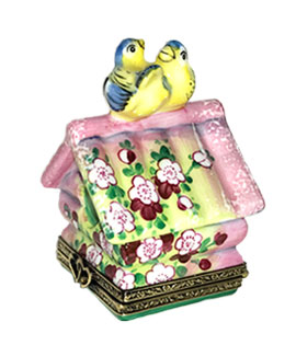Limoges box pink bird house with birds and two chicks inside