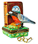 north american birds limoges box with glasses