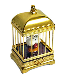 Limoges box love birds in gold cage