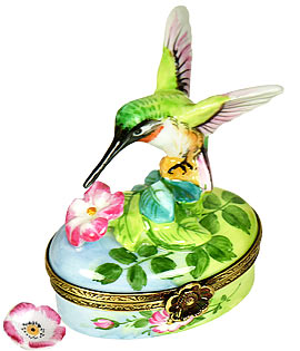 Limoges box hummingbird sipping from blossom with removable flower