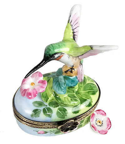 Limoges Box Delicate Hummingbird at Flowers with Removable Flower