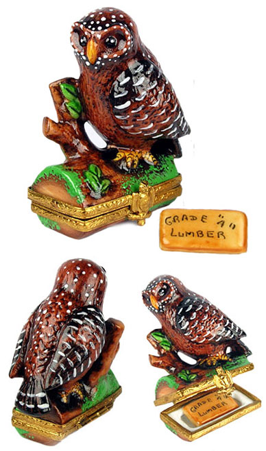 Limoges box North American Brown Spotted Owl with plank of lumber