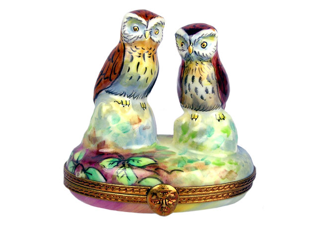 owls with nest limoges box