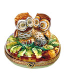 loving owls on oak leaves Limoges box