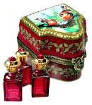 birds decor perfume canister with three perfumes