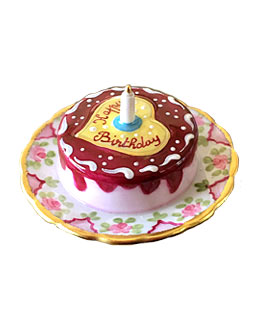 Limoges box birthday cake with heart and candle