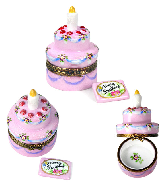 birthday cake with card limoges box