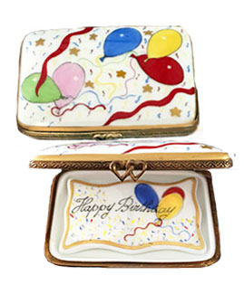 Limoges box birthday with balloons decor and card insert