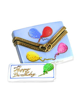 Limoges box Happy Birthday card in envelope with balloons