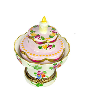 Limoges box two layer birthday cake on pedestal stand