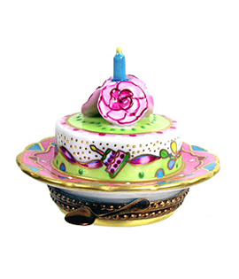 Limoges box birthday cake with roses and candle