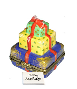 Limoges box stack of colorful birthdy presents with card