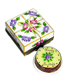 Limoges box pastry carton with birthday cake