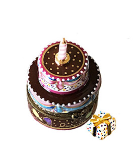Limoges box chocolate two layer birthday cake with gift