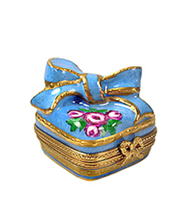 limoges box blue and gold gift with bow