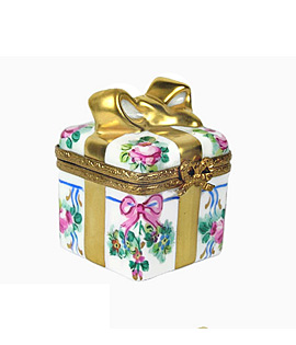 Limoges box flowered gift box with bow