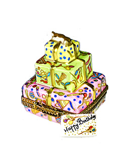stack of gifts with birthday card Limoges box