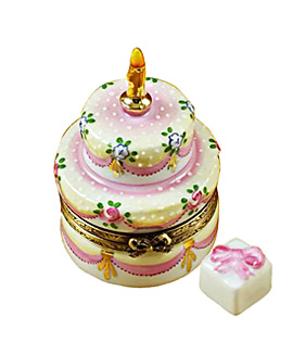Rochard Limoges box two layer birthday cake with gift