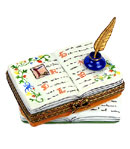 Calligraphy book Limoges box with inkwell and quill pen