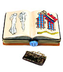 fashion designer book Limoges box with purse