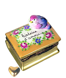 history of love book Limoges box with bird