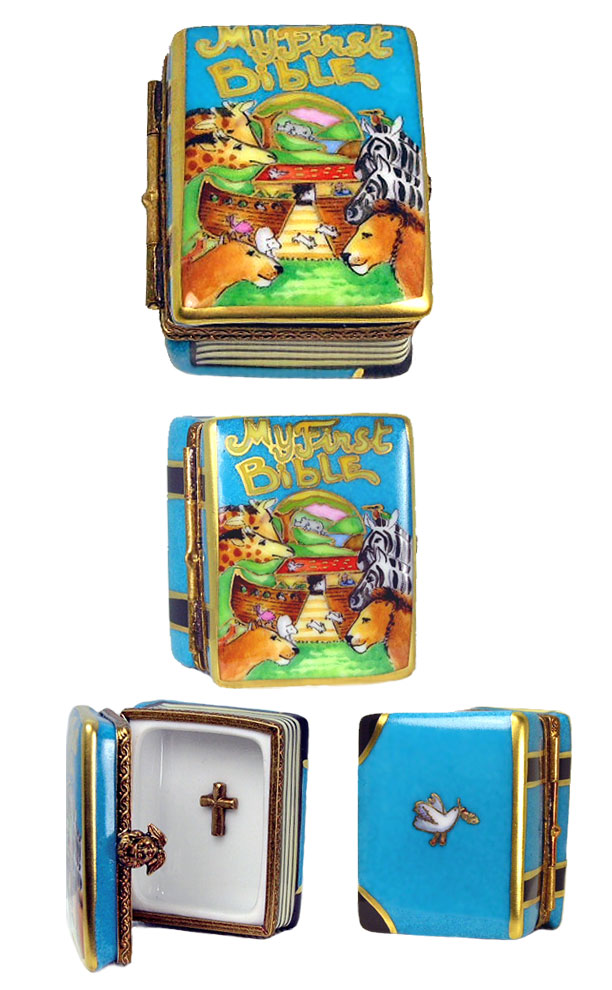 Child's first Bible Limoges box with Noah's Ark illustratration and cross
