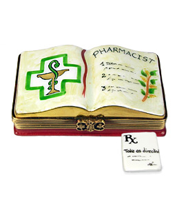 pharmacist book with porcelain prescription